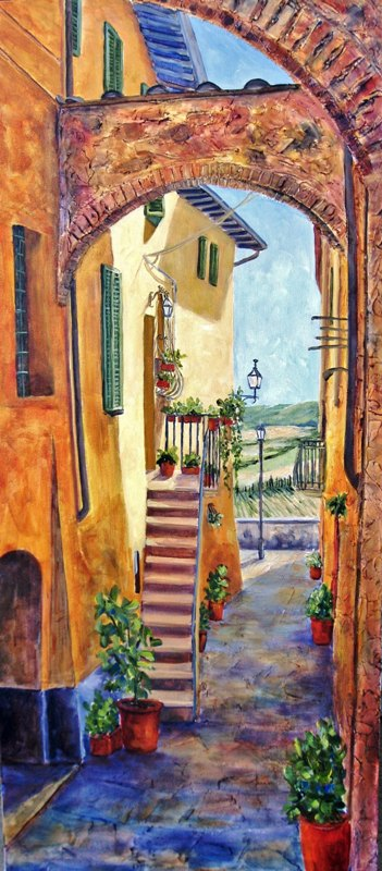 Elaine Tweedy - Steps and Arches - Montepulciano