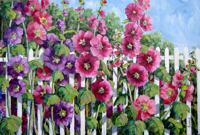 Elaine Tweedy - Hollyhock and Fence