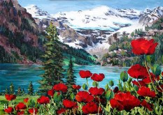 Elaine Tweedy - Lake Louise & Poppies  II (SOLD)