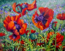 Elaine Tweedy - Trio of Poppies (SOLD)
