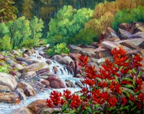Elaine Tweedy - Indian Paintbrush & Mountain Stream (SOLD)
