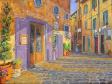 Elaine Tweedy - Evening Shadows in the Piazza, Cortona (SOLD)