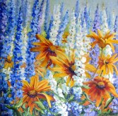 Elaine Tweedy - Delphiniums and Rudbeckias